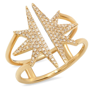 14K Gold and Diamond Sunburst Ring