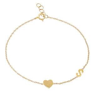 14K Gold Heart and Initial Bracelet