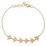 14K Gold and Diamond Triangle Bracelet