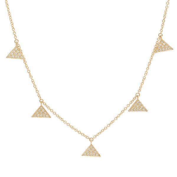 14K Gold and Diamond Triangle Charm Necklace