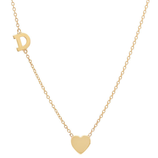 14K Gold Heart and Inital Necklace