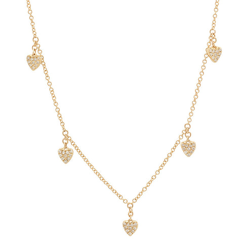 14K Gold and Diamond Heart Charm Necklace