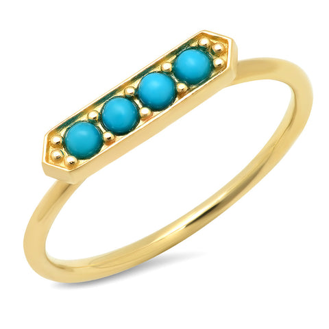 14K Yellow Gold Turquoise Bar ring