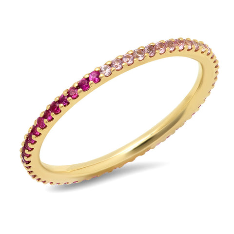 14K Yellow Gold Pink Sapphire Ombre Eternity Band