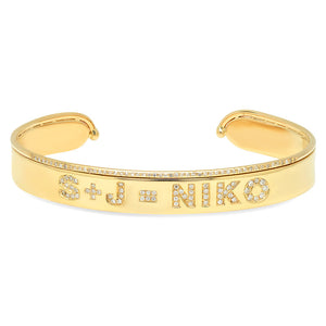 14K Yellow Gold Diamond Name Cuff Bracelet