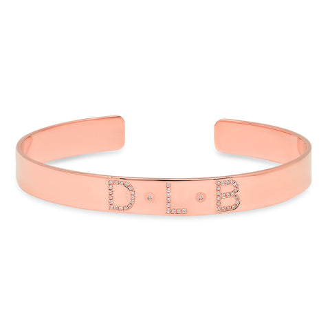 14K Rose Gold Diamond Name Cuff Bracelet