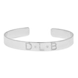 14K White Gold Diamond Name Cuff Bracelet