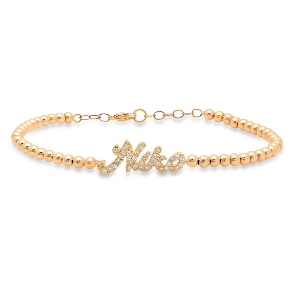 14K Yellow Gold Diamond Name Beaded Bracelet