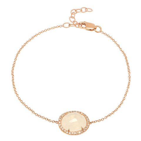 14K Rose Gold Diamond Moonstone Bracelet