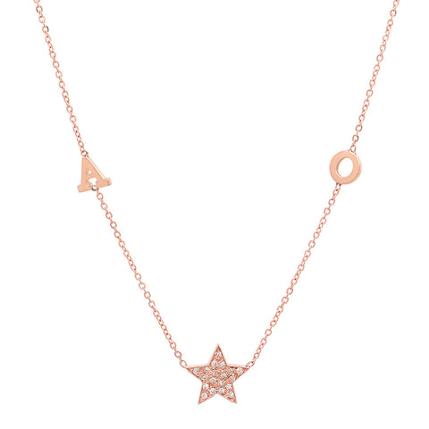 14K Gold Initial Star Necklace