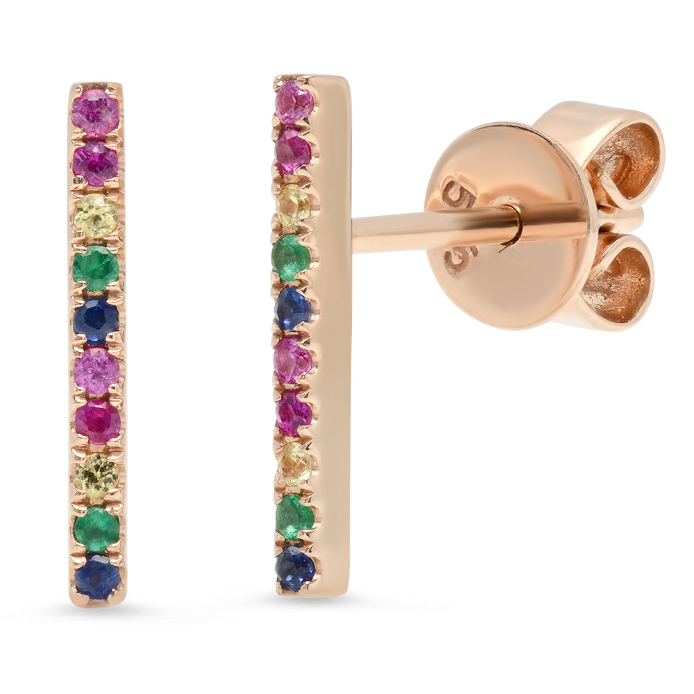 14K Gold Large Rainbow Stick Studs