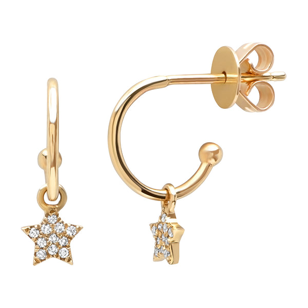 14K Gold Diamond Star Charm Huggies