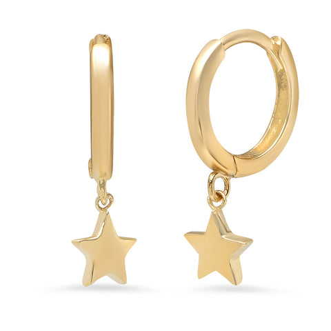 14K GOLD TINY STAR CHARM HUGGIES