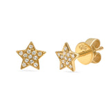 14K Gold Diamond Star Studs