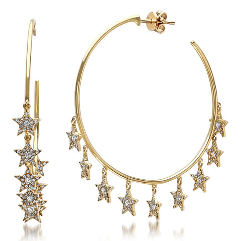 14K Gold Diamond Star Charm Hoops