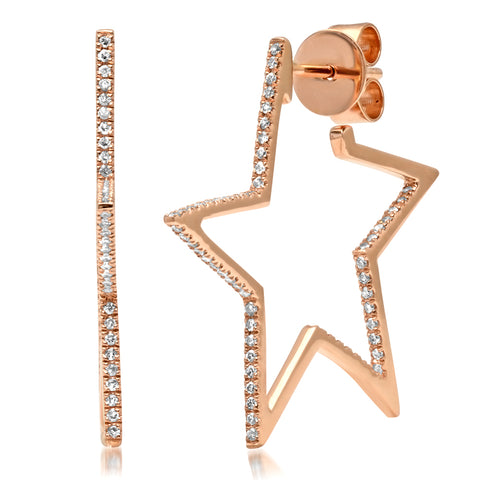 14K Gold Diamond RockStar Hoops