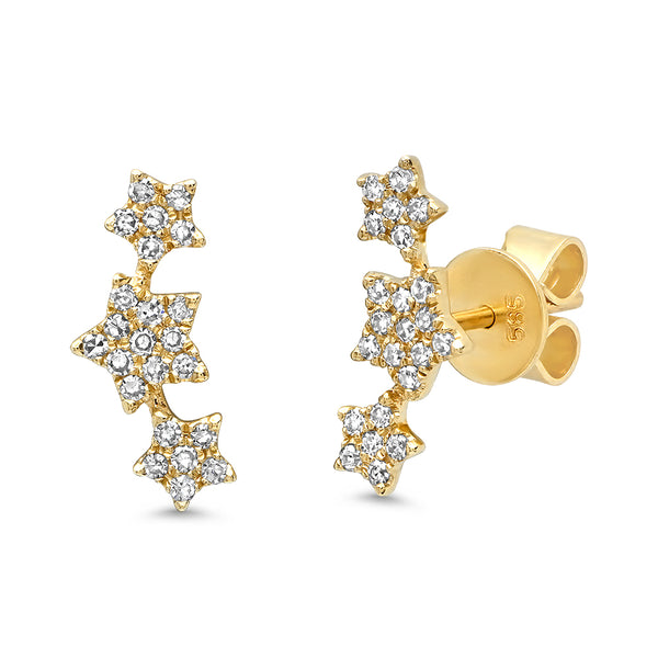 14K Gold Diamond Triple Star Stud Earrings