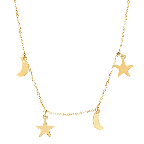 Gold Star and Moon Charm Necklace