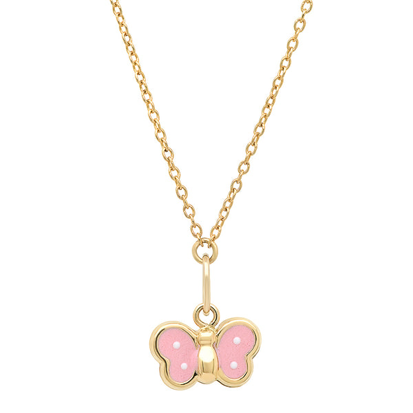 Pink Butterfly Charm Necklace