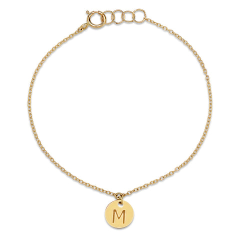Gold Disc Initial Charm Bracelet