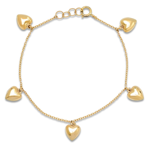 Gold Puffy Heart Charm Bracelet