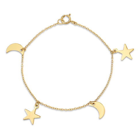 Gold Star and Moon Charm Bracelet