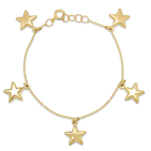 Gold Puffy Star Charm Bracelet