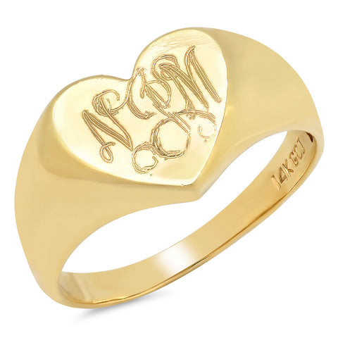 14K Gold Heart Shaped Signet Ring
