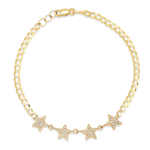 14K GOLD DIAMOND STAR CHAIN LINK BRACELET