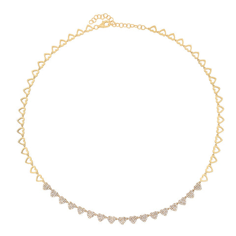 14K Gold Diamond Heart Tennis Necklace