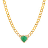 14K Gold Emerald & Diamond Heart Necklace