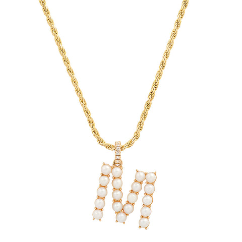 14K Gold Pearl & Diamond Initial Charm Necklace