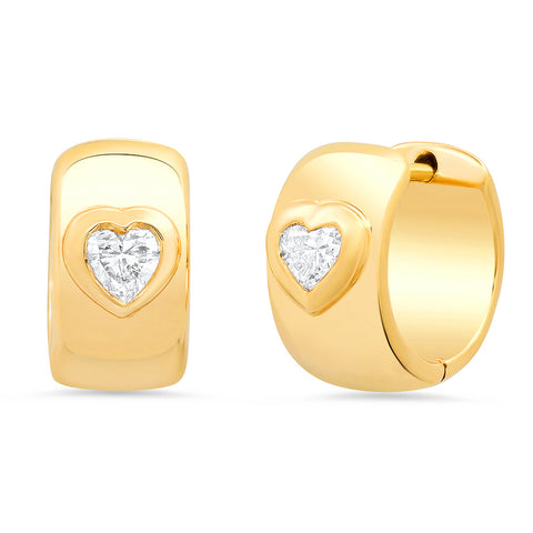 14K Gold Heart Shape Diamond Thick Huggies