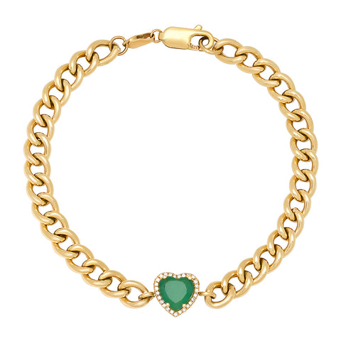 14K Gold Diamond & Heart Shape Emerald Curb Chain Bracelet