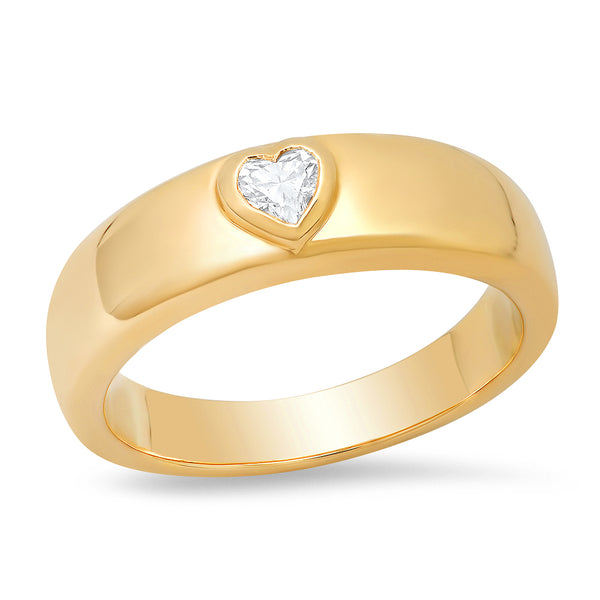 14K Gold Heart Shape Diamond Thick Ring