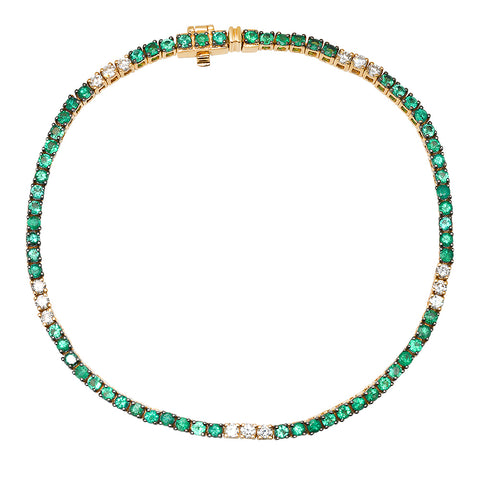 14K YELLOW GOLD EMERALD AND DIAMOND TENNIS BRACELET