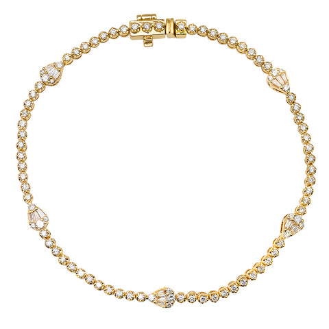 14K GOLD DIAMOND PEAR SHAPE TENNIS BRACELET