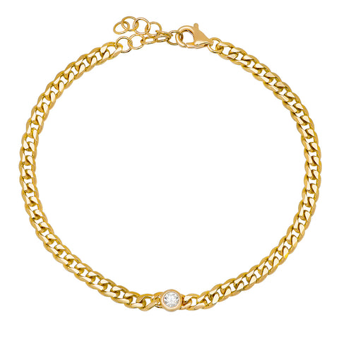 14K GOLD BEZEL SET DIAMOND ON A CUBAN CHAIN