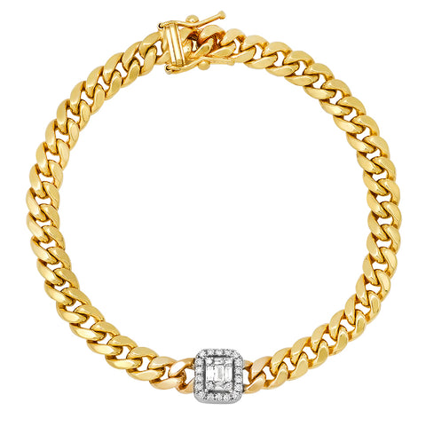 14K YELLOW GOLD DIAMOND MOSAIC CHARM ON A CUBAN CHAIN BRACELET