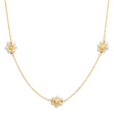 14K Yellow Gold White Pearl Flower Necklace