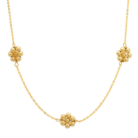 14K Yellow Gold Pearl Flower Necklace