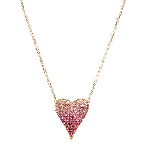 14K Gold Pink Sapphire Ombre Heart Necklace