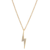 14K GOLD DIAMOND LIGHTNING BOLT CHARM NECKLACE