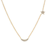 14K Gold Diamond Star & Moon Necklace