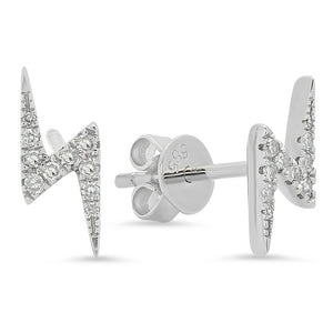 14K White Gold Lightning Bolt Studs