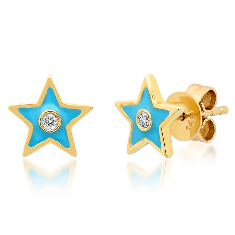 14K GOLD DIAMOND TURQUOISE ENAMEL STAR STUD