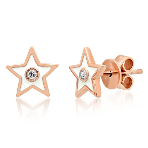 14K GOLD DIAMOND WHITE ENAMEL STAR STUD