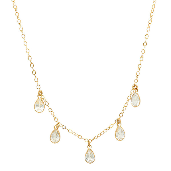 14K YELLOW GOLD TEARDROP WHITE TOPAZ CHARM NECKLACE