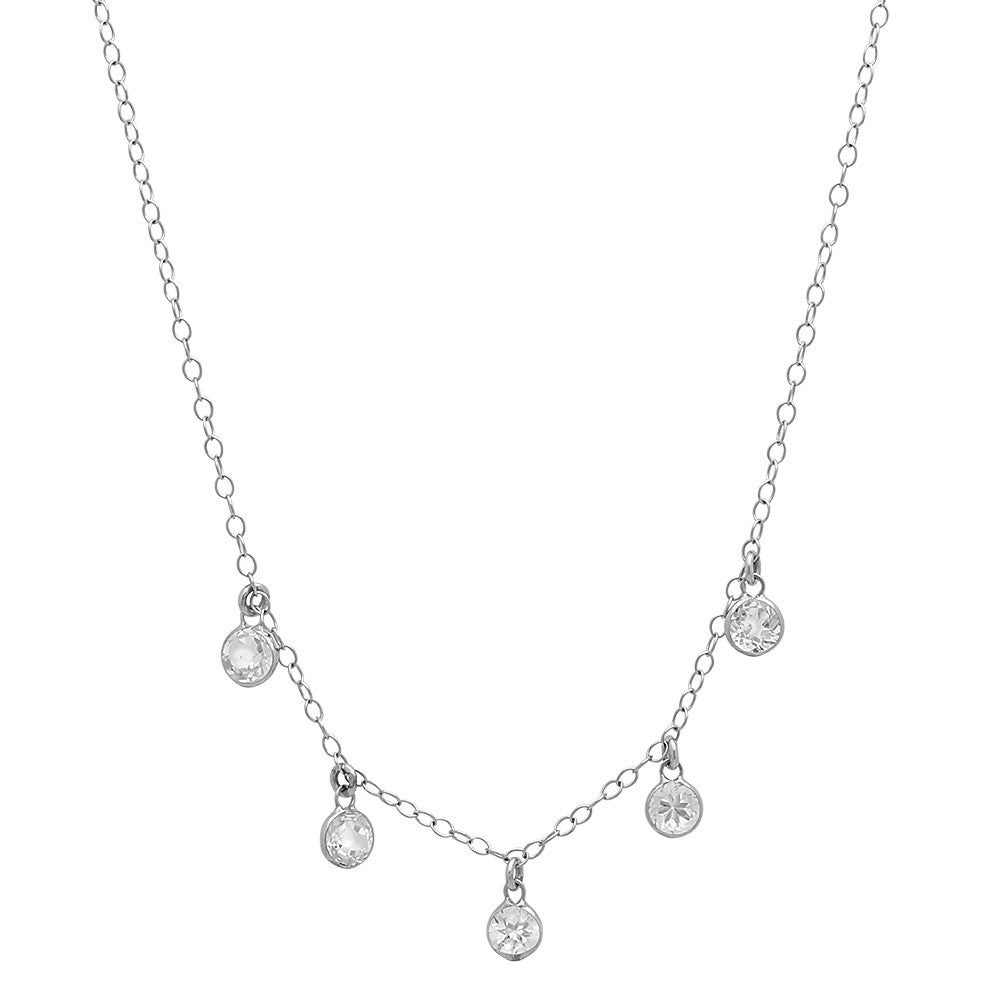 14K WHITE GOLD ROUND WHITE TOPAZ CHARM NECKLACE