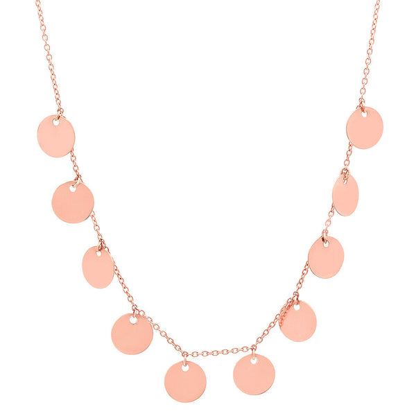 14K ROSE GOLD GYPSY DISC CHARM NECKLACE